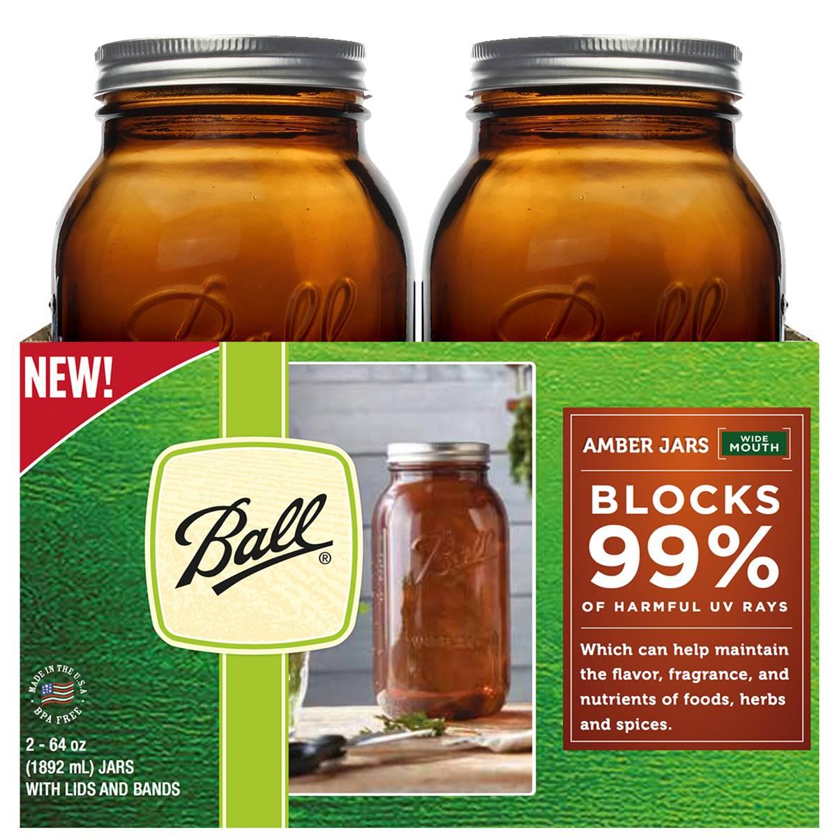 Ball 2 Pack Amber Wide Mouth 1 2 Gallon 64 Oz Mason Jars